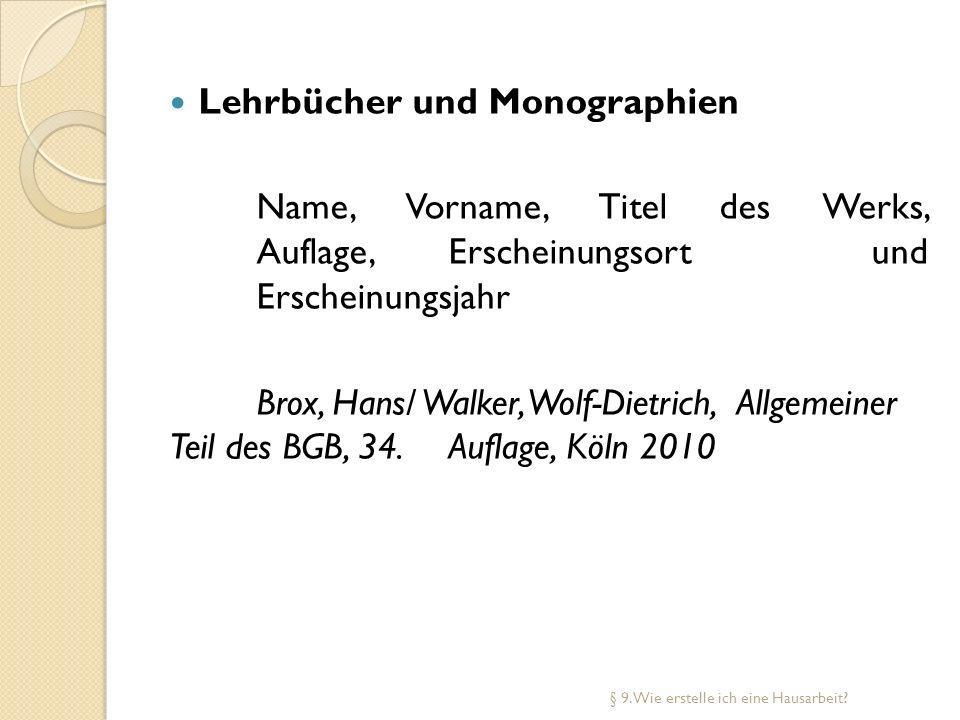 Lehrbücher und Monographien