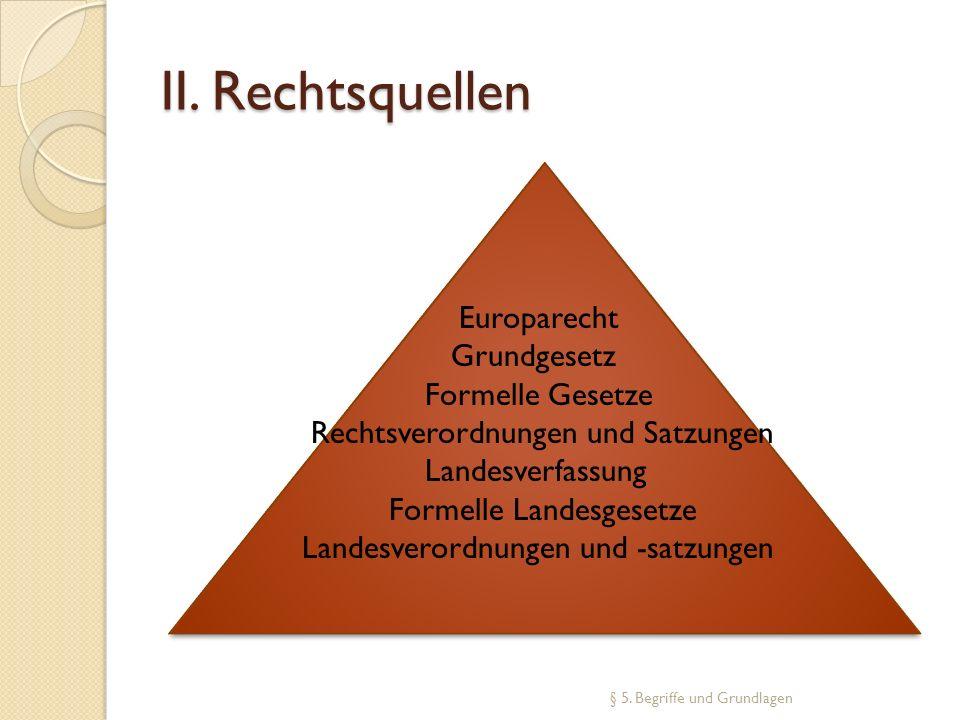 II. Rechtsquellen Europarecht Grundgesetz Formelle Gesetze
