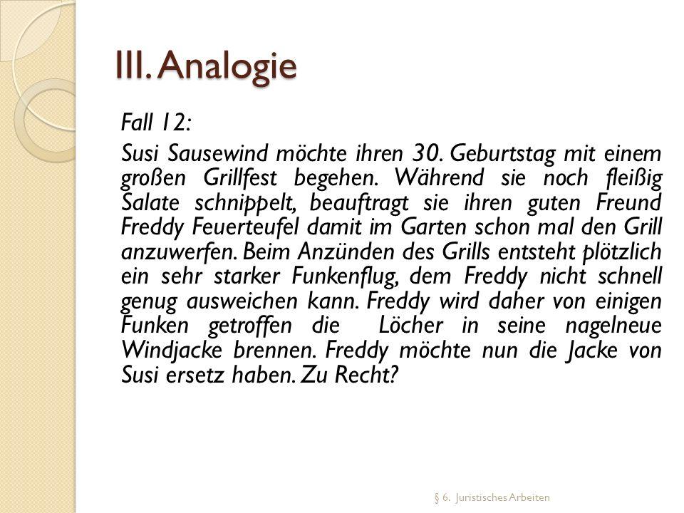 III. Analogie