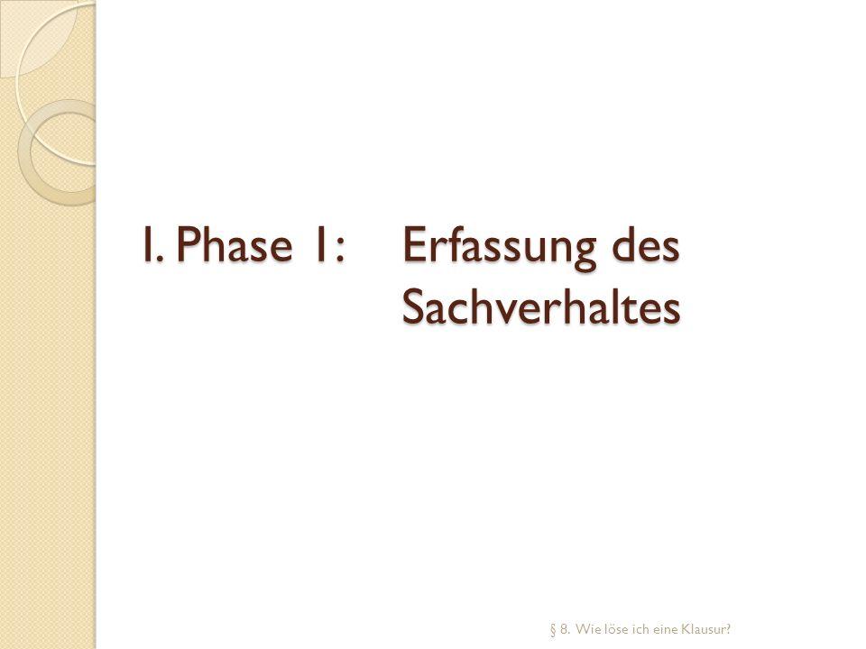 I. Phase 1: Erfassung des Sachverhaltes