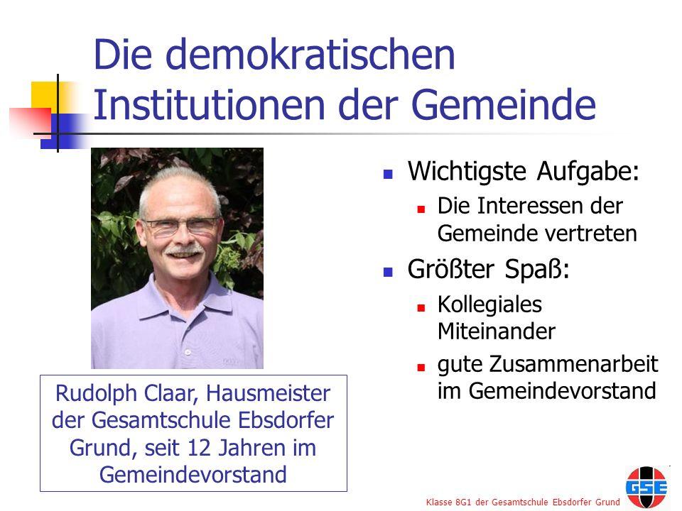 Die demokratischen Institutionen der Gemeinde