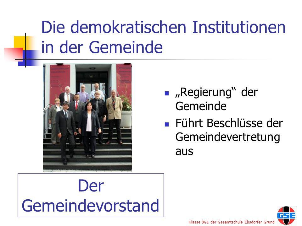 Die demokratischen Institutionen in der Gemeinde