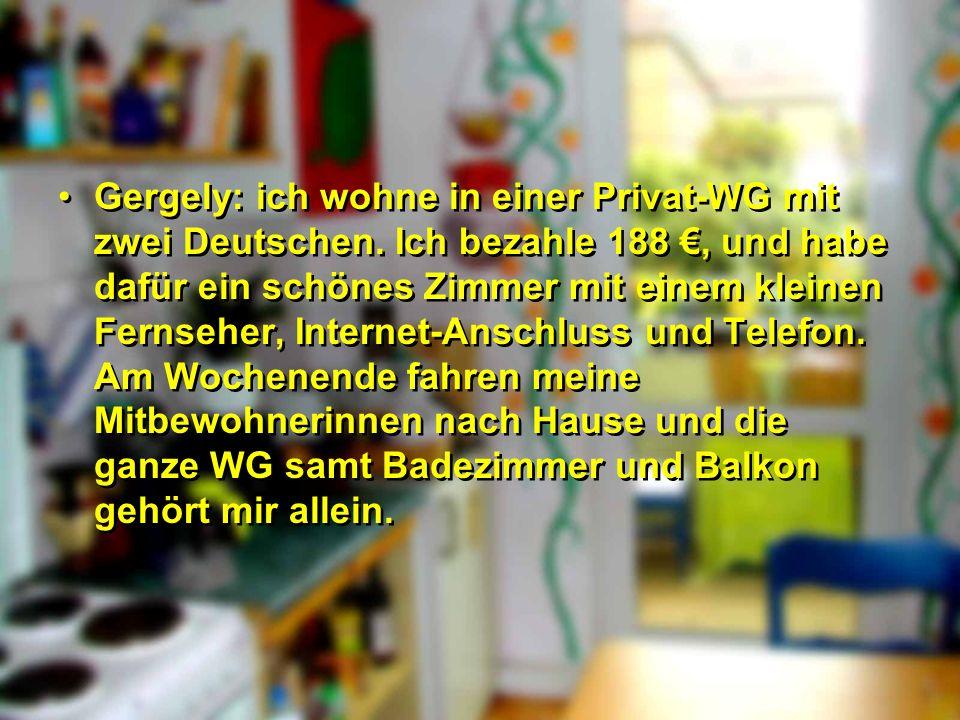 Gergely: ich wohne in einer Privat-WG mit zwei Deutschen
