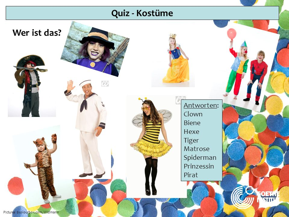 Quiz - Kostüme Wer ist das Antworten: Clown Biene Hexe Tiger Matrose