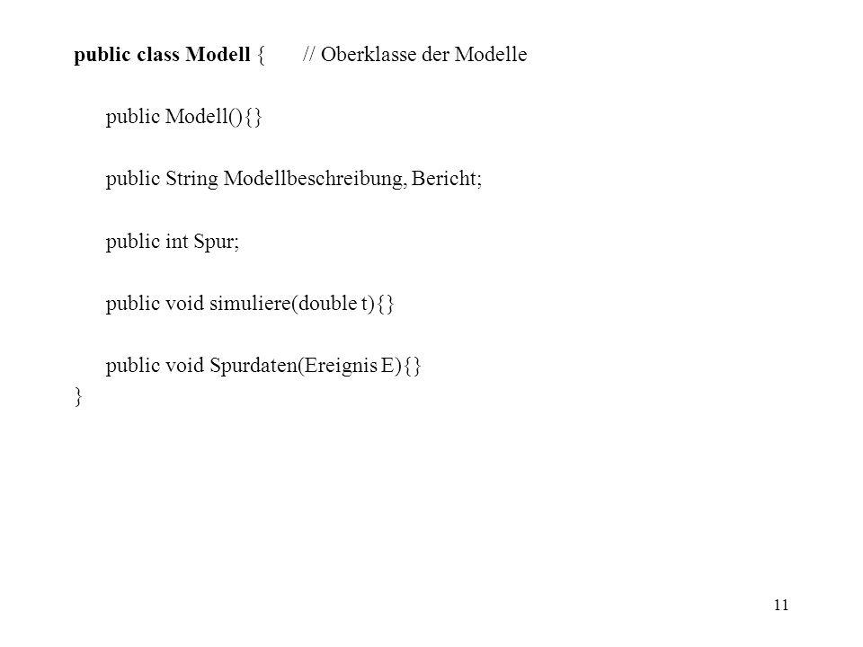 public class Modell { // Oberklasse der Modelle