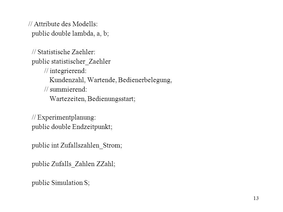 // Attribute des Modells: