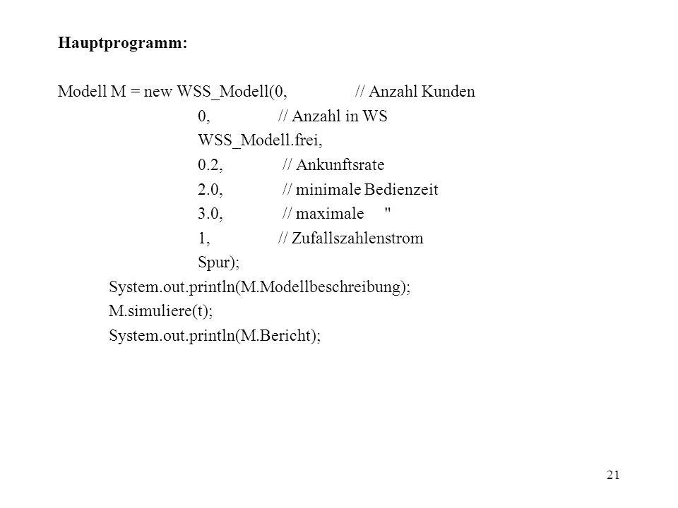 Hauptprogramm: Modell M = new WSS_Modell(0, // Anzahl Kunden. 0, // Anzahl in WS.