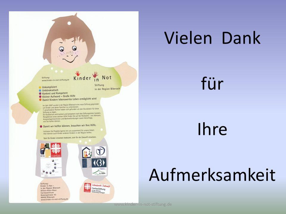 Vielen Dank für Ihre Aufmerksamkeit www.kinder-in-not-stiftung.de