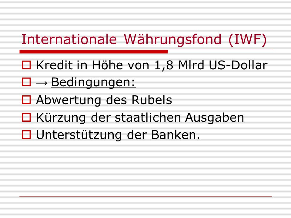 Internationale Währungsfond (IWF)