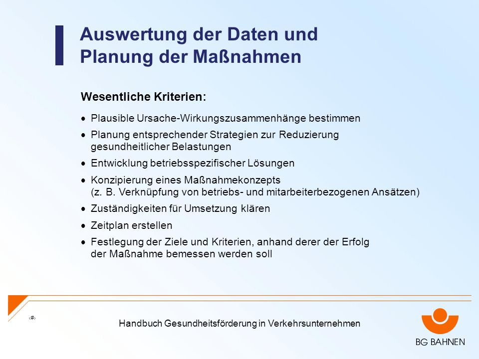 Auswertung der Daten und Planung der Maßnahmen