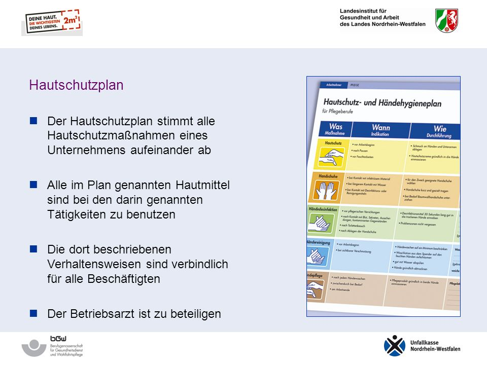Hautschutzplan Der Hautschutzplan stimmt alle Hautschutzmaßnahmen eines Unternehmens aufeinander ab.
