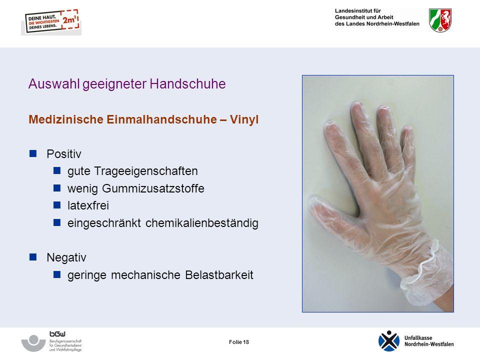 Auswahl geeigneter Handschuhe
