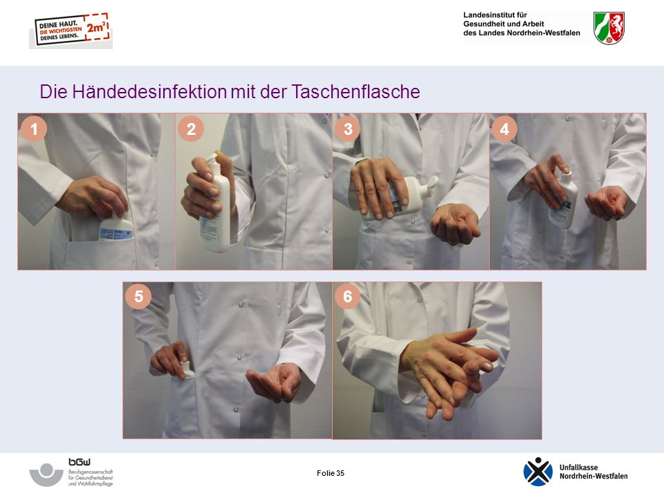 Die Händedesinfektion mit der Taschenflasche