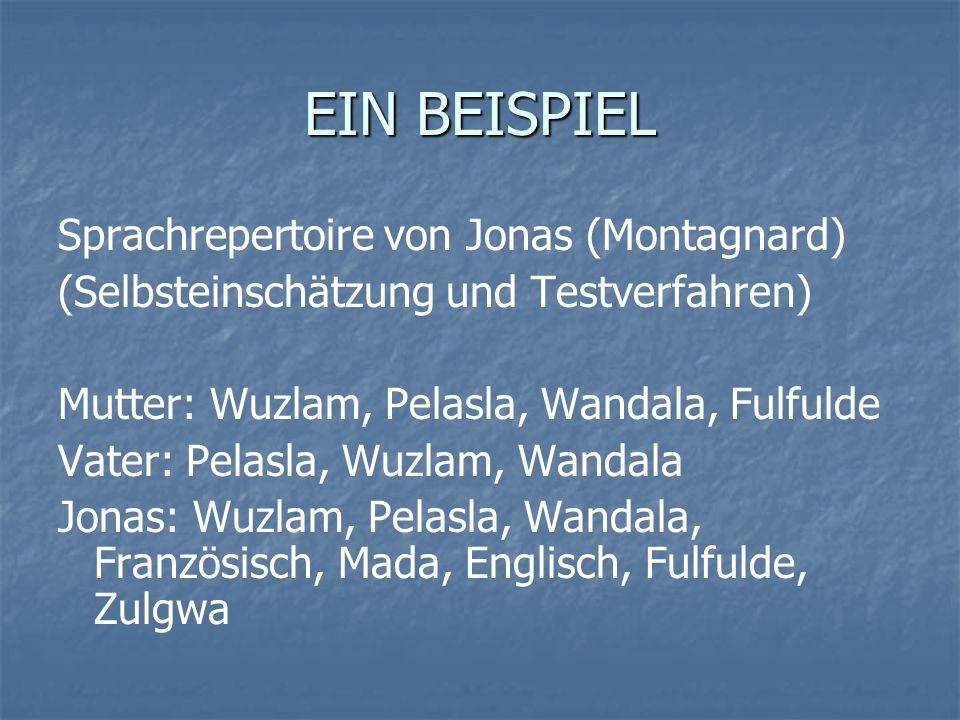 EIN BEISPIEL Sprachrepertoire von Jonas (Montagnard)