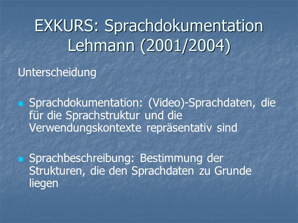 EXKURS: Sprachdokumentation Lehmann (2001/2004)