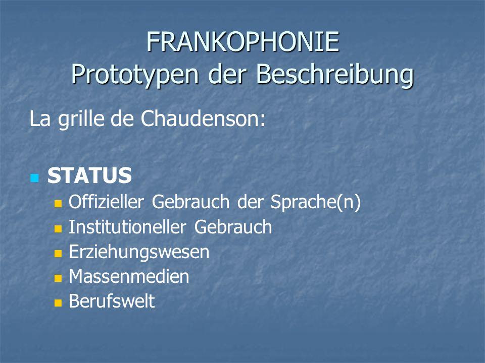 FRANKOPHONIE Prototypen der Beschreibung