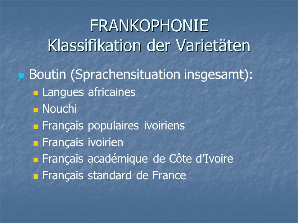 FRANKOPHONIE Klassifikation der Varietäten