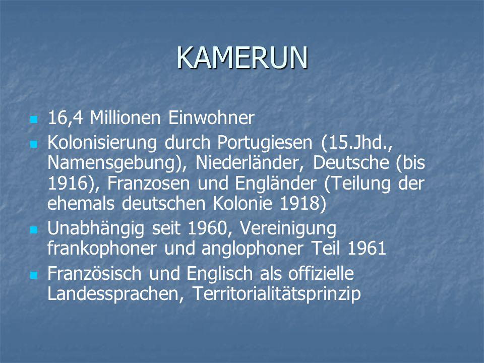 KAMERUN 16,4 Millionen Einwohner