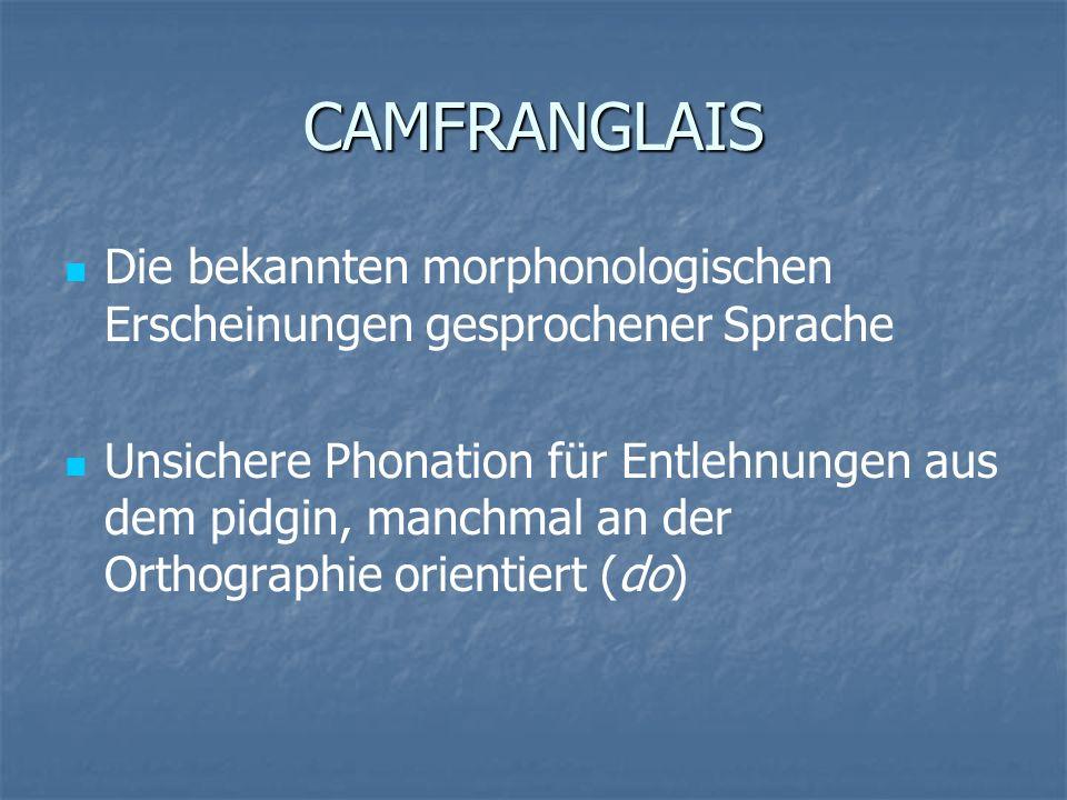 CAMFRANGLAIS Die bekannten morphonologischen Erscheinungen gesprochener Sprache.
