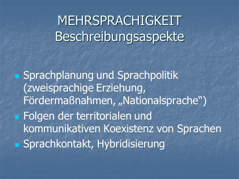 MEHRSPRACHIGKEIT Beschreibungsaspekte