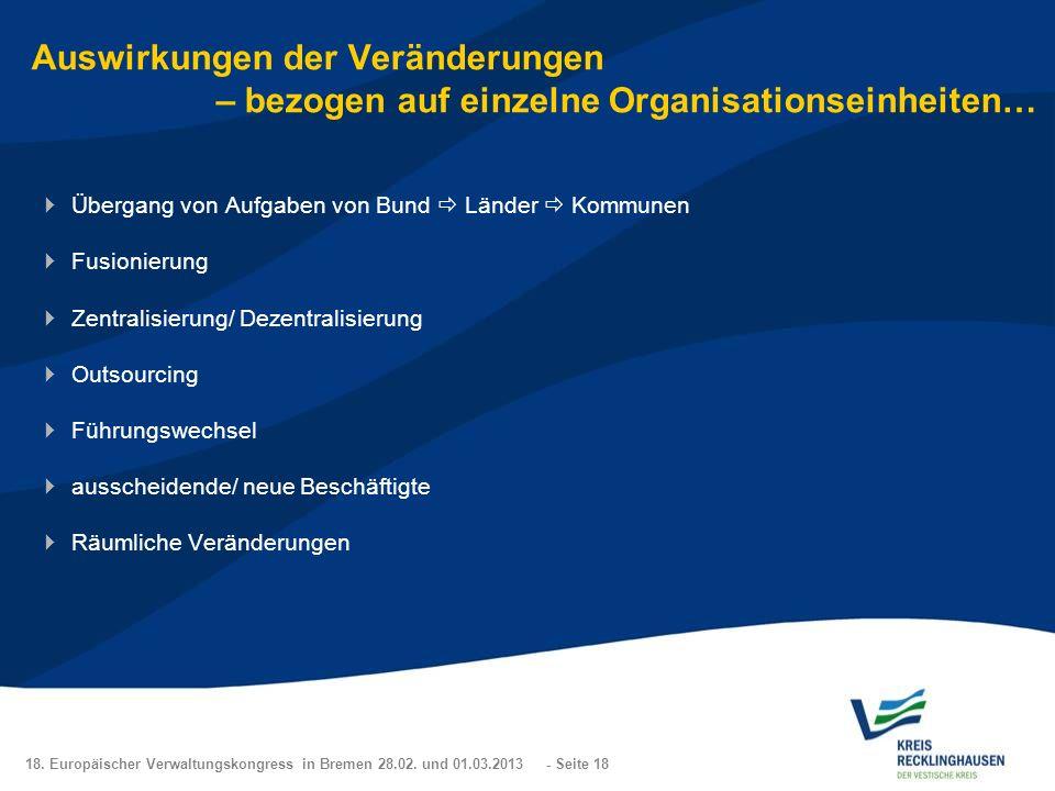 Auswirkungen der Veränderungen – bezogen auf einzelne Organisationseinheiten…