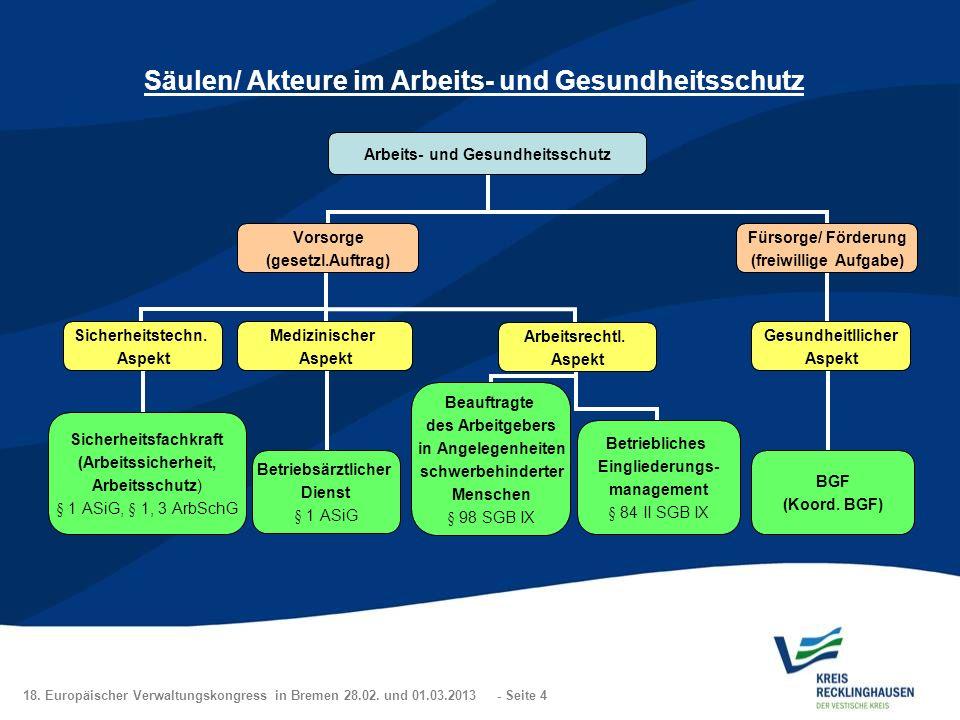 Säulen/ Akteure im Arbeits- und Gesundheitsschutz