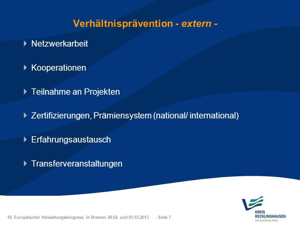 Verhältnisprävention - extern -