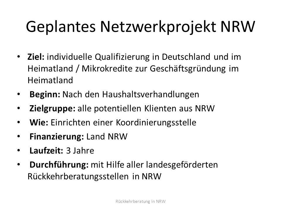 Geplantes Netzwerkprojekt NRW