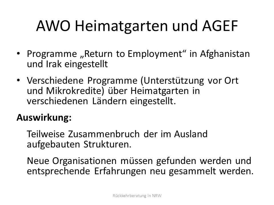 AWO Heimatgarten und AGEF