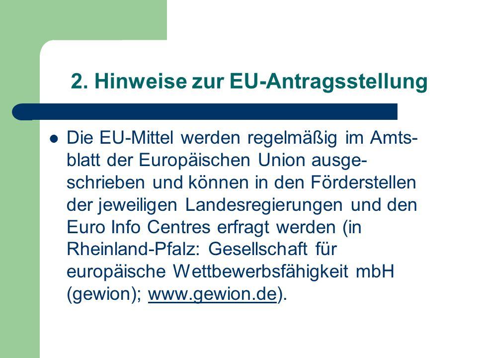 2. Hinweise zur EU-Antragsstellung
