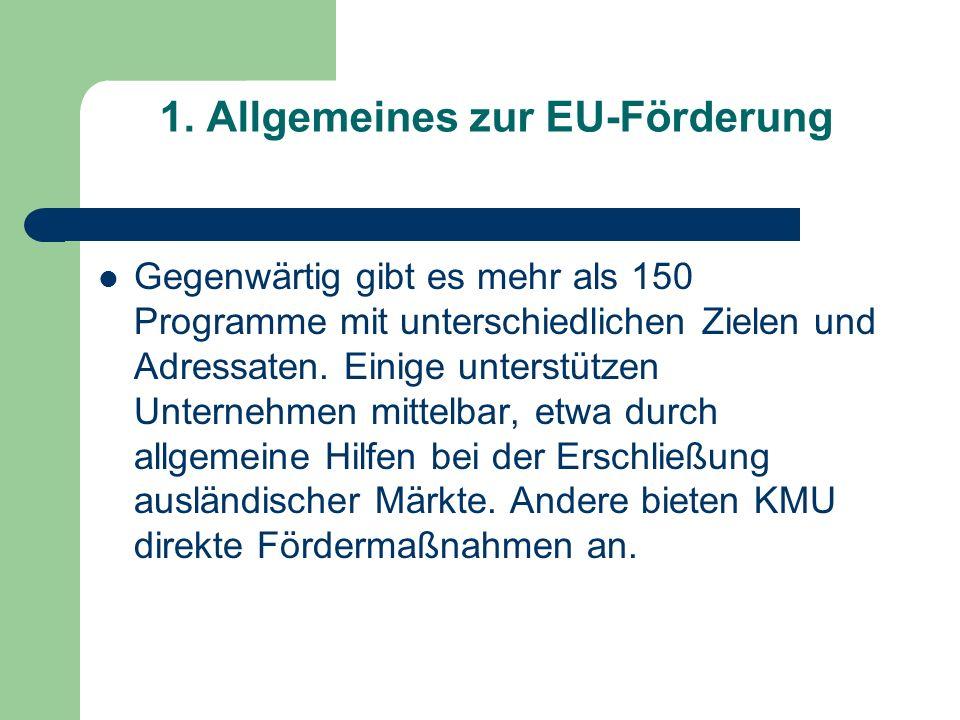 1. Allgemeines zur EU-Förderung