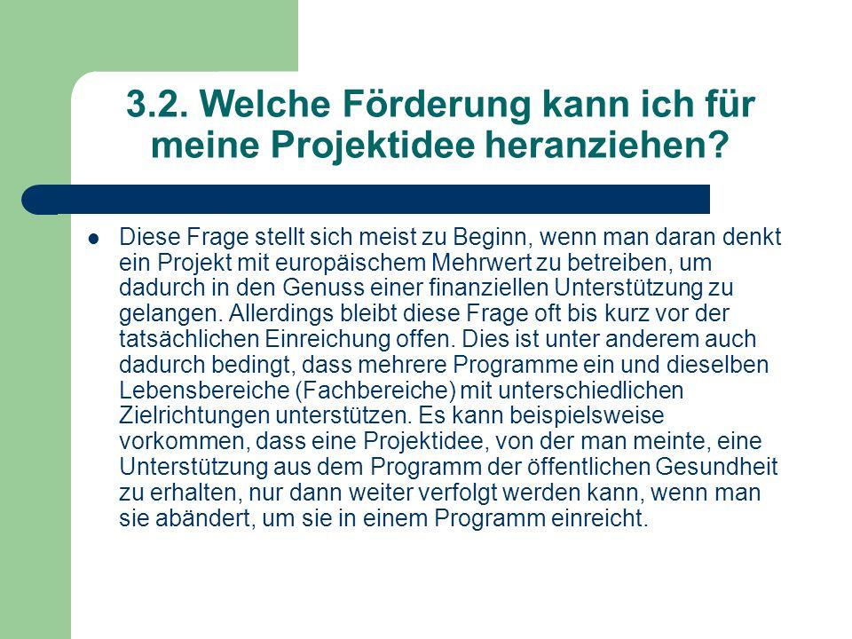 3.2. Welche Förderung kann ich für meine Projektidee heranziehen