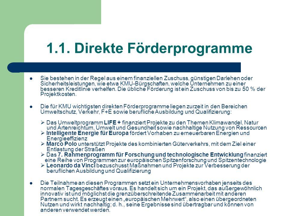 1.1. Direkte Förderprogramme