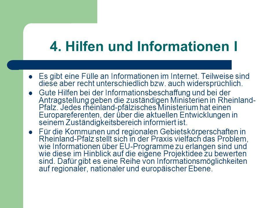 4. Hilfen und Informationen I