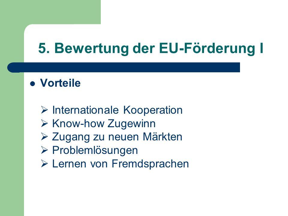 5. Bewertung der EU-Förderung I