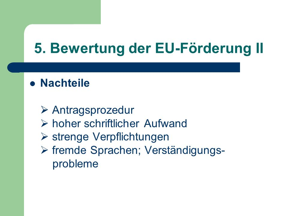 5. Bewertung der EU-Förderung II