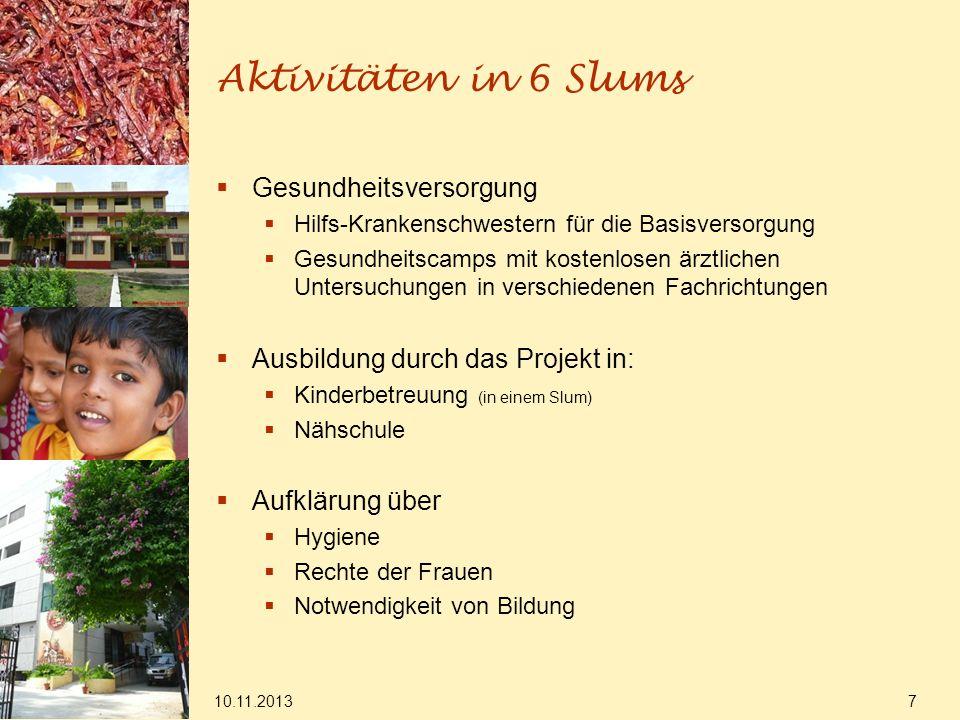 Aktivitäten in 6 Slums Gesundheitsversorgung