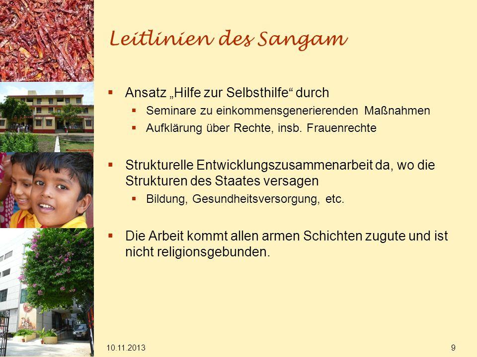 """Leitlinien des Sangam Ansatz """"Hilfe zur Selbsthilfe durch"""
