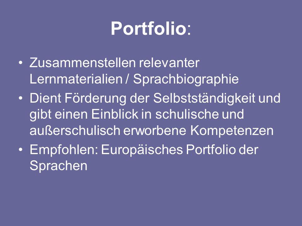 Portfolio: Zusammenstellen relevanter Lernmaterialien / Sprachbiographie.