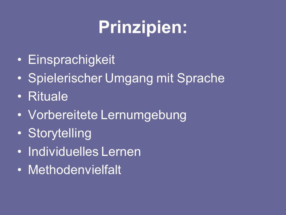 Prinzipien: Einsprachigkeit Spielerischer Umgang mit Sprache Rituale