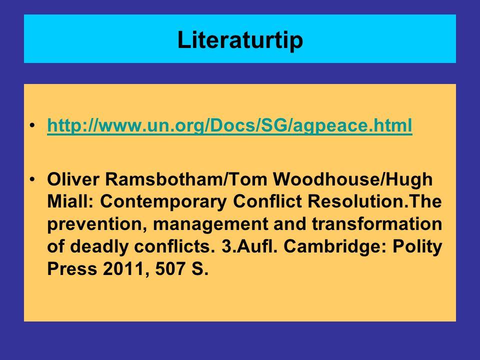 Literaturtip http://www.un.org/Docs/SG/agpeace.html