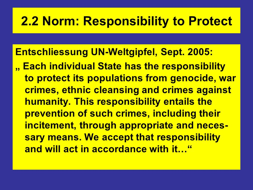 2.2 Norm: Responsibility to Protect