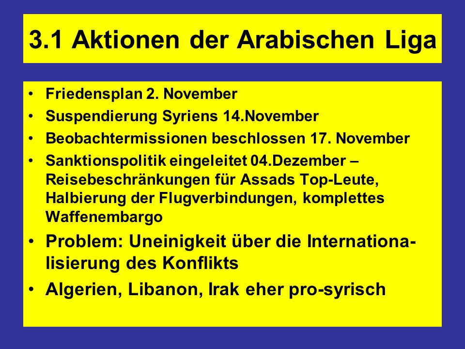 3.1 Aktionen der Arabischen Liga