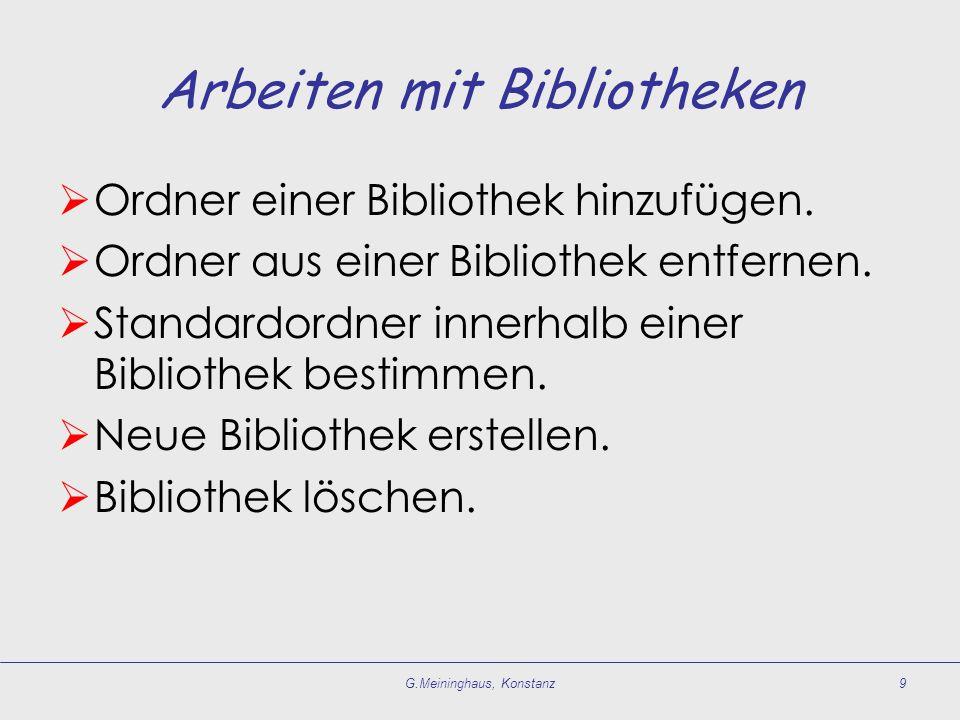 Arbeiten mit Bibliotheken