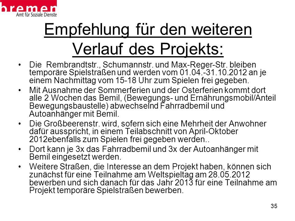Empfehlung für den weiteren Verlauf des Projekts:
