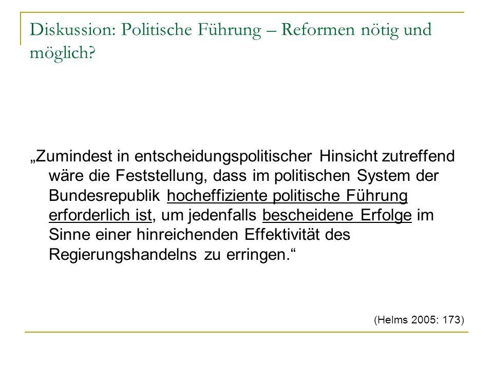 Diskussion: Politische Führung – Reformen nötig und möglich