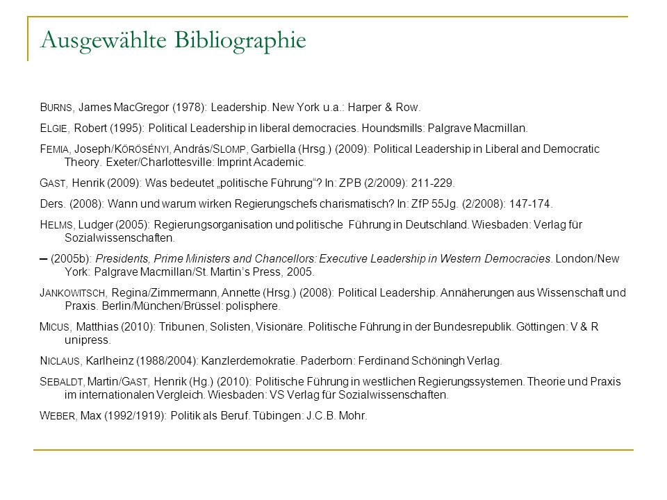 Ausgewählte Bibliographie