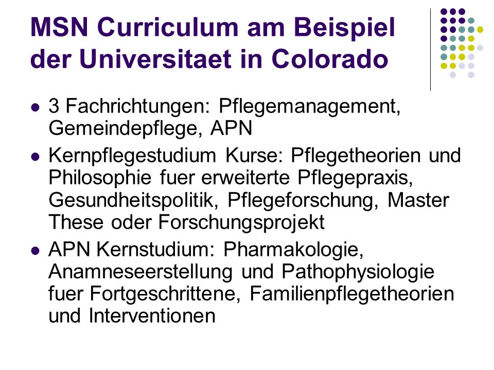 MSN Curriculum am Beispiel der Universitaet in Colorado