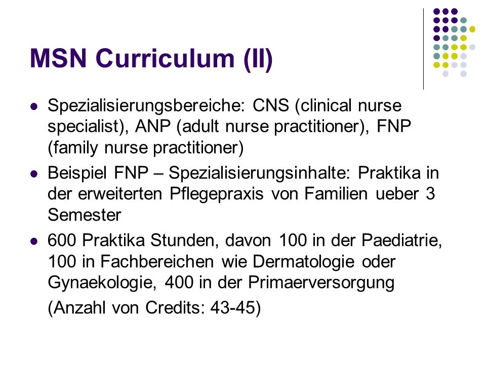 MSN Curriculum (II) Spezialisierungsbereiche: CNS (clinical nurse specialist), ANP (adult nurse practitioner), FNP (family nurse practitioner)