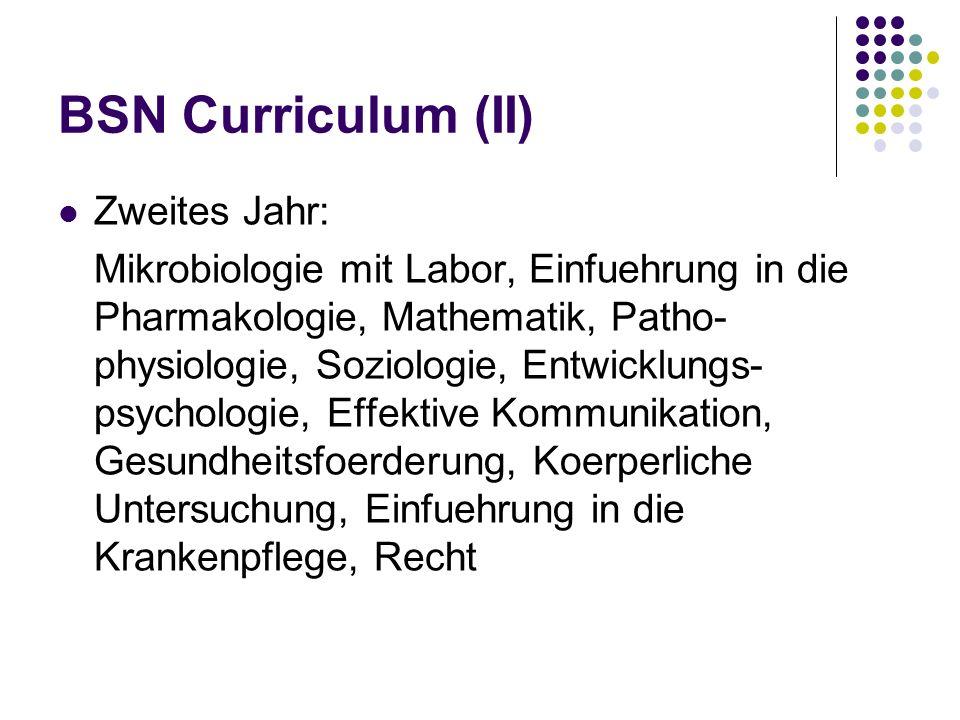 BSN Curriculum (II) Zweites Jahr: